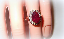 ROSE GOLD 9 CT GENUINE RUBY BEZEL DIAMOND RING PRINCESS STYLE SIZE 6.25 FINE