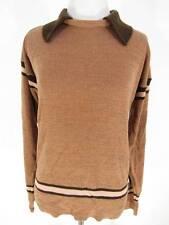 Vtg Sundowner Sweater 70s Brown Striped Vintage Hippie Erica Strasberg L Collar