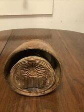 Primitive Wood Butter Mold 19th Century Wheat Design