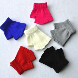 Men Women Fingerless Short Gloves Solid Color Half Finger Knitted Warmer Mittens