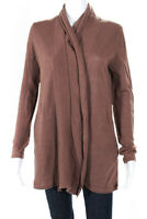 Scoop Womens Linen Long Sleeve Open Cardigan Sweater Brown Size Small