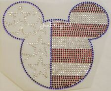 Fourth 4th of July Patriotic Mickey Hot Fix Iron On Rhinestone Transfer Bling