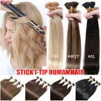 200 Strands Stick I-Tip 100% Real Human Remy Hair Extensions Micro Ring Beads 1G