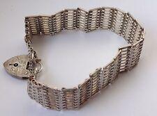 "Vintage exceptional Solid silver GATE BRACELET London 1979 - 22.4g - 7"" x 20mm"