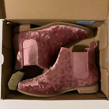 Womens Toms Ella Faded Rose Velvet Chelsea Boots size 7 New With Box