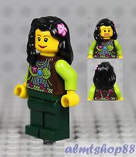 LEGO - Girl Kids Female Minifigure w/ Magenta Lime Top & Black Flower Hair City