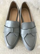 Korean Fashion Synthetic Leather Women Bow tie Loafer Flat (sky blue, US size 5)