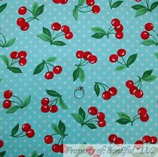 BonEful FABRIC FQ Cotton Quilt Green Leaf Stem Aqua White Dot RED CHERRY Picnic