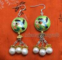 Big 18mm Round Green Cloisonne & 6-7mm White Natural Pearl Dangle earring-ear527