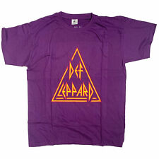 Def Leppard T Shirt - Triangle Logo Purple 100% Officially Licensed NWOBHM