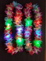 1 pc LED LIGHT UP FLASHING LEI HAWAIIAN NECKLACE RAVE PARTY BLINKING FLOWER luau