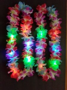 3 Leis Hawaiian LED Luau Light Up Necklaces Flashing Rave Flower Vacation Glow