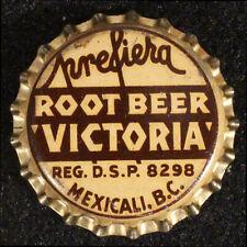 "PREFIERA ROOT BEER ""VICTORIA"" CORK SODA BOTTLE CAP CROWNS BAJA, MEXICALI, MEXICO"