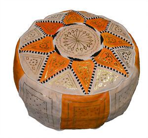 Ottoman Footstool Poof Moroccan Hand Made Leather Poufs Hassock Medium Orange