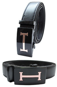 Automatic Ratchet Click Lock Black Leather Belt Italian Design Gold Buckle B28