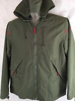 Stunt Sports Windbreaker Size M Green Full Zip Hooded Nylon Jacket