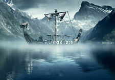 248748 Viking Longboat in the Cold North Sea Art WALL PRINT POSTER AU