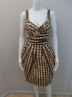 CUE MULTI COLOUR CHECK, EXPOSED ZIP DRESS WITH POCKETS SIZE 6 (#E666)
