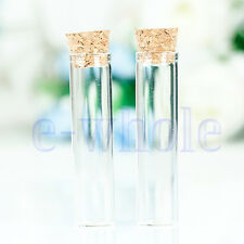 New 10 Pcs 6ml 16x65mm Empty Tiny Small Clear Cork Message Glass Bottles Tube DT