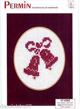 Permin 17-4282 - Kit Broderie Point de Croix Compté - Carte Cloches de Noël