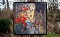exzellentes Ölgemälde Holzrahmen Stillleben Blumen signierte Künstlerarbeit