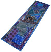 """Indian Hand Embroidered Beaded Work Table Runner Rug Wall Tapestry Turquoise 60"""""""
