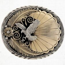 Navajo Hand Made Gold Silver Belt Buckle Navajo Eagle Design German Silver Plate