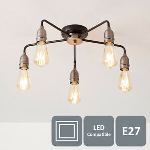 Modern 5 Light Ceiling Light, Black and Pewter/Matte Silver, 5xE27/ES Cap Type