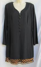 DJ & Co. Womens 16 Black Two-Fer Tunic Dress w/Leopard Scarf Skirt