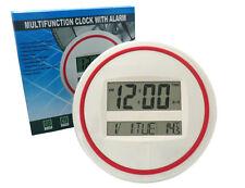 MONTRE NUMÉRIQUE ROND ROUGE ET BLANC LCD MULTIFONCTIONNEL MURAL/BUREAU