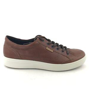ECCO Soft 7 Long Lace Mens Cognac Leather Sneakers Shoes Size 42 (US 8-8.5)