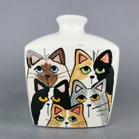 Vintage Cats Bud Vase Ceramic Hand Painted