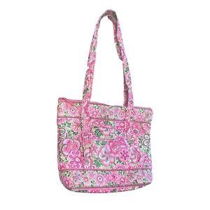 VERA BRADLEY PETAL PINK Carryall Tote Purse Hand Shoulder Bag Green Floral