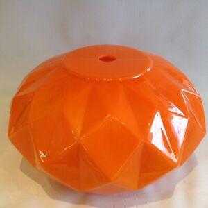 Vintage Large Orange Glass Ceiling Light Shade Diamond Cut