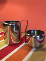 Vintage Old Hall 1/2 Pint Stainless Steel Milk Jug / Creamer and Sugar Bowl