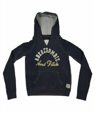 ABERCROMBIE & FITCH Hoodie Jumper Navy Blue Cotton Hoody V Neck Medium Women's