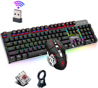 Mechanical Gaming Keyboard Mouse Set Wired/Wireless 104 Keys with LED Backlit Br