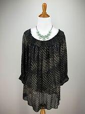 THEORY Top S Black Tan Abstract 100% Silk Sheer Smocked Top Peasant Blouse