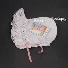 NWT Will'Beth White Pink Knit Lace Baby Bonnet Newborn Girls Boutique Ribbon