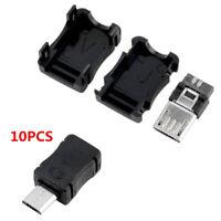 10Pcs Black Micro USB 5 Pin Male Connector Port Solder Plug Plastic Cover