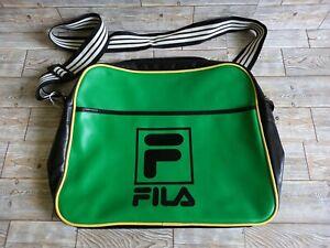 Retro Fila Green Black Messenger Flight Bag Crossbody Sports Gym Bag