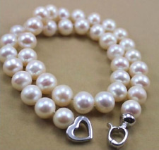 "HUGE AAA 9-10 MM NATURAL WHITE SOUTH SEA PEARL NECKLACE 18"" FF410"