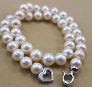 """HUGE AAA 9-10 MM NATURAL WHITE SOUTH SEA PEARL NECKLACE 18""""LL006"""