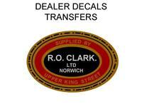 RO Clark  Motorcycle Dealer Decal Transfer Sticker DQ202 Triumph BSA Ariel AJS