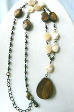 Fashion natural color Mother of Pearl & Tiger Eye beaded link  necklace 20""