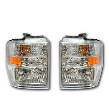 NEW OEM 2008-2012 Ford E-250 E-350 LH RH Chrome Headlamp Lights- PAIR Both Sides
