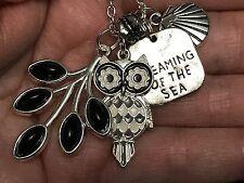 """Sea Charm Tibetan Silver 18"""" Necklace R7 Owl B&W w/Onyx Leaf Dream of the"""