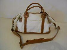Men's Diamond Resorts International White Canvas Gym Bag Brown Faux Leather Trim