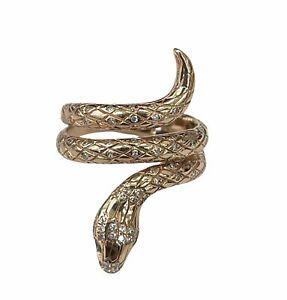 Round Brilliants Snake Diamond Ring Rose Gold 14kt