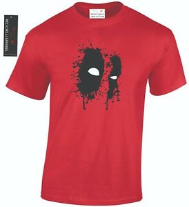 Deadpool Inspired T Shirt Graffiti Face Superhero Marvel Top Tee